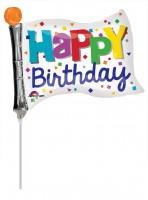 Stabballon Bunte Geburtstags-Fahne