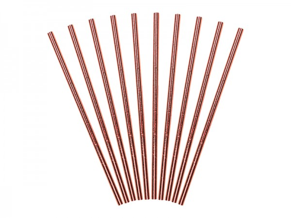 10 Metallic Strohhalme roségold 19,5cm