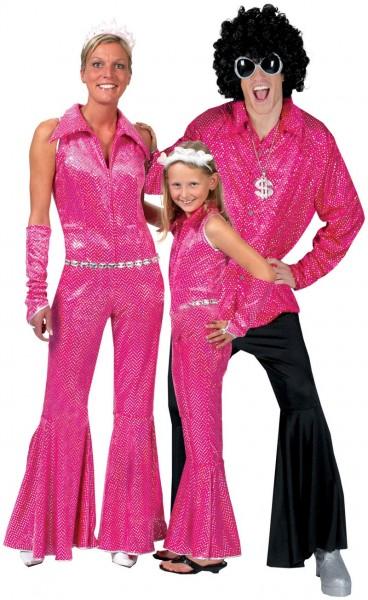 Pink Funkelnder Schlaghosen Jumpsuit