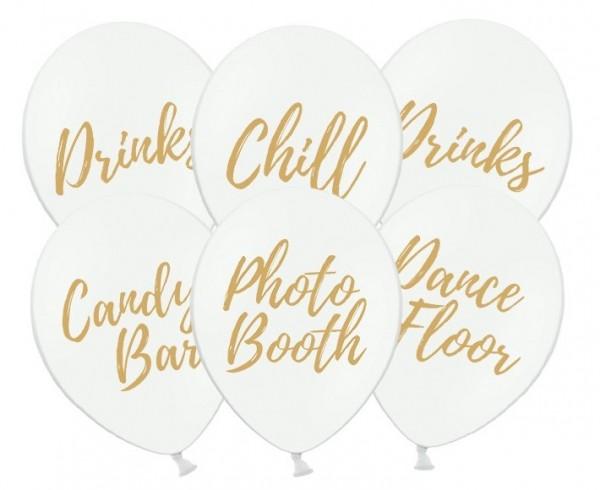 6 ballons de fête chill out blanc 30cm