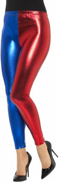 Glanzende metallic legging rood-blauw