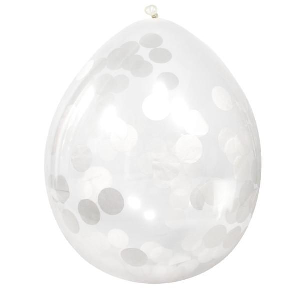 4 Konfetti Ballons Weiß