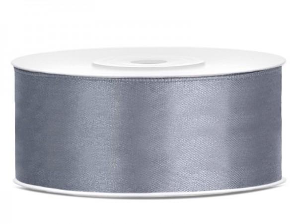 25m satin ribbon gray 25mm wide