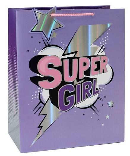 Super Girl Geschenktüte 25 x 21,5cm