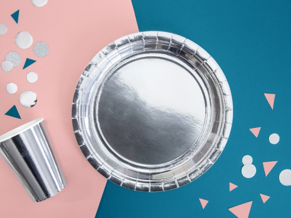 6 platos de papel metalizados plateados 23cm