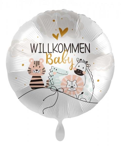 Satin Willkommen Baby Folienbballon 45cm
