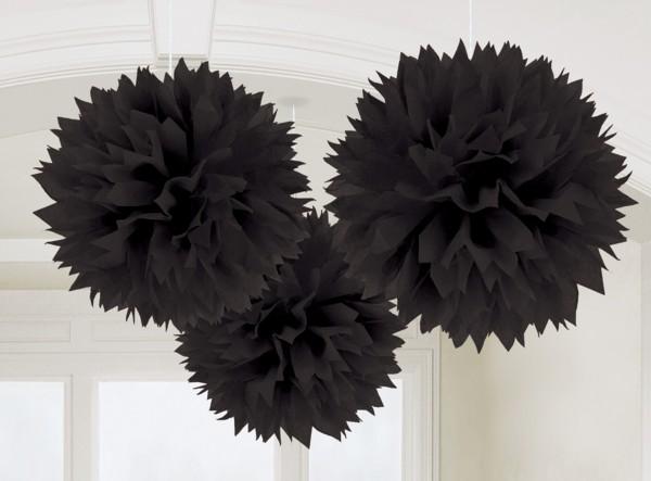 3 pompons moelleux noirs 40,6cm