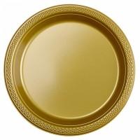 10 Kunststoffteller Partytime Gold 17,7cm