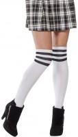 Weiß-Schwarze College Girl Kniestrümpfe