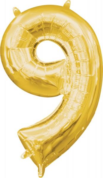 Mini foil balloon number 9 gold 35cm