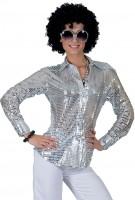 Pailetten Bluse Für Damen Silber