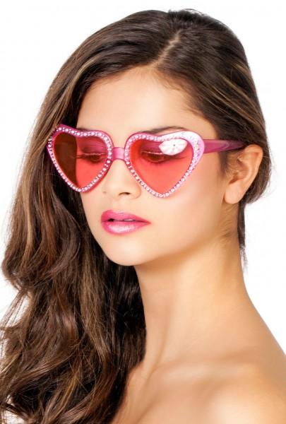 Rosa Herzchen Brille Mit Glitzersteinen