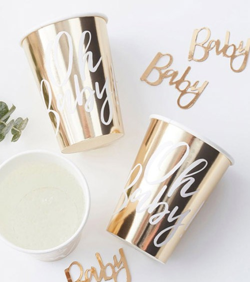 8 gold Oh Baby paper cups 255ml