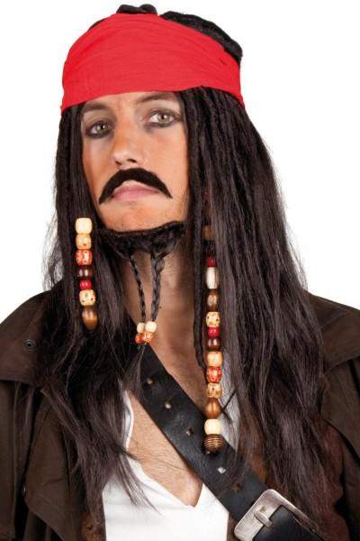 Seeräuber-Perücke mit Kopftuch und Bart