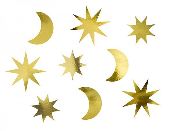 Goldene Mond & Sterne Tischdeko 9-teilig
