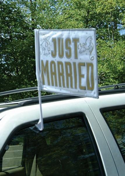 Romantische Just Married Auto Flagge Weiß-Gold