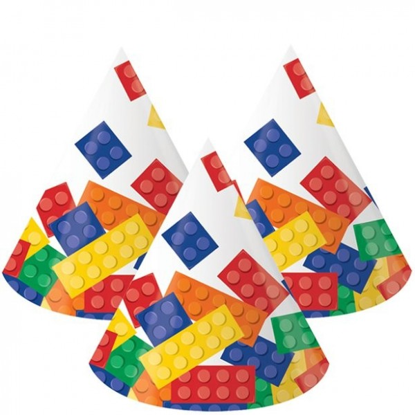 8 colorful building block party hats for kids