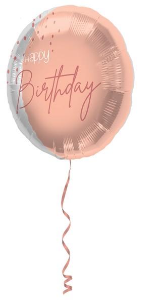 Palloncino foil Happy Birthday 1 Elegante rosa cipria