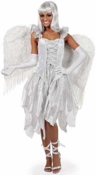 Silver angel dress in corsage look