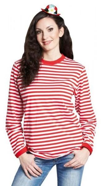 Camisa de rayas unisex manga larga rojo blanco