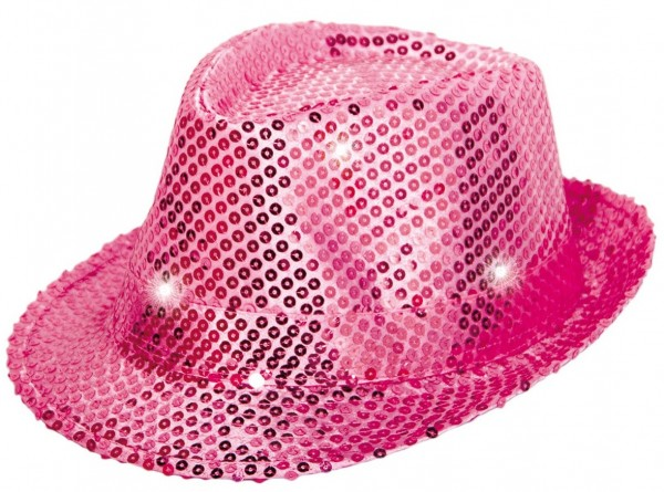 Pailletten LED Hut in Pink