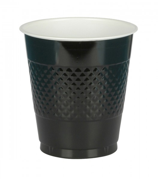 20 black plastic cups 355ml