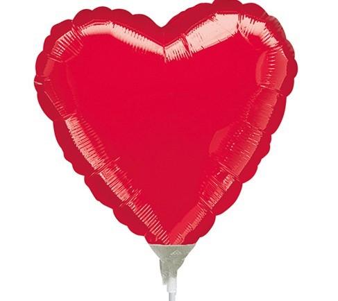 Ballon tige coeur Julia rouge