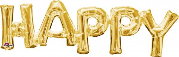 Folienballon Schriftzug Happy in Gold 76x25cm