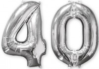 Folienballon Zahl 40 silber 66cm