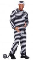 Strafgefangener Kostüm Schwarz-Weiß