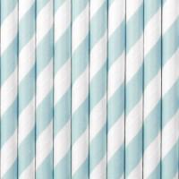 10 Gestreifte Papier Strohhalme pastellblau 19,5cm