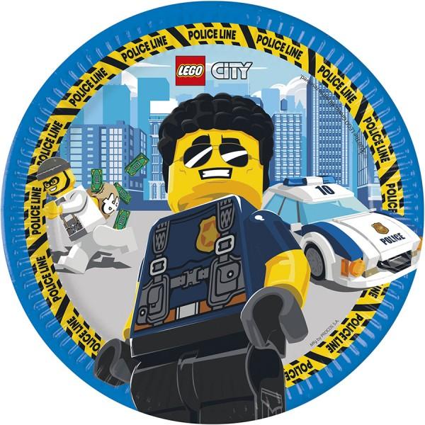 8 assiettes en papier Lego City 23cm