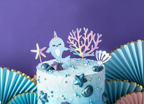 Narwhal cake decoration Ozeania 4 pieces
