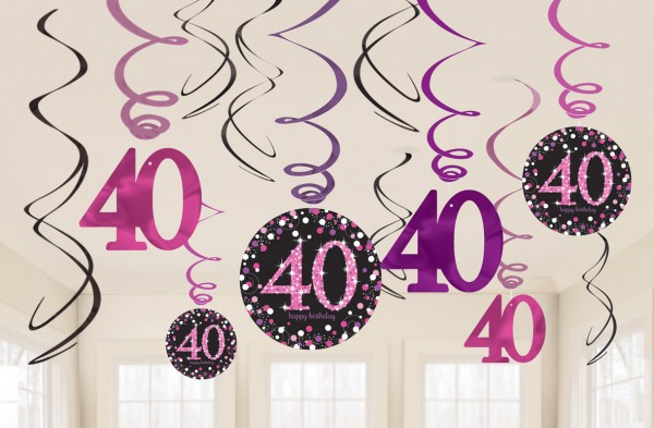 12 pink 40th birthday spiral hangers 60cm