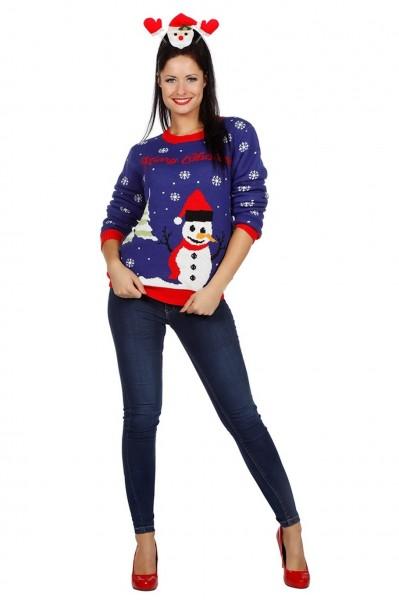 Suéter de muñeco de nieve navideño
