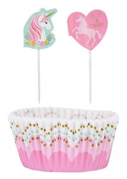 24 Magical unicorn muffin cases and skewers