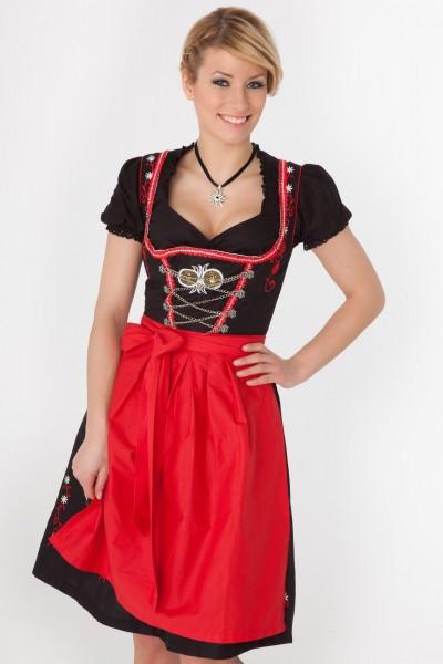 Midi Dirndl Marie noir-rouge