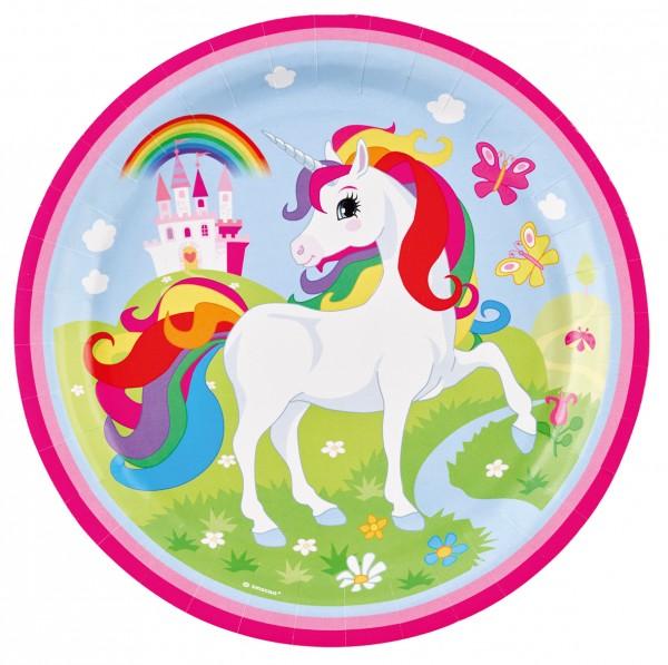 8 Zauberhafte Einhorn Rainbow Sparkle Pappteller 23cm