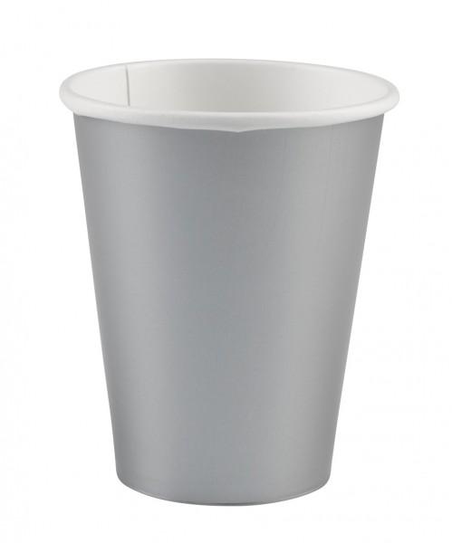 8 vasos de papel buffet fiesta plata 266ml