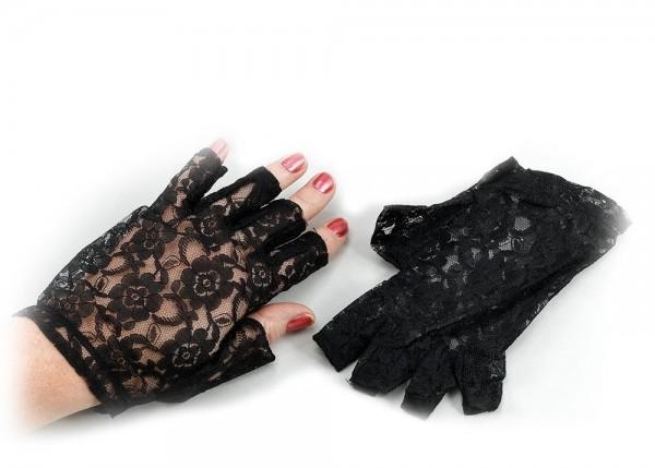 Gants en dentelle élégants noirs