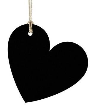 10 zwarte hartjes cadeau-tags 5 x 4,5 cm