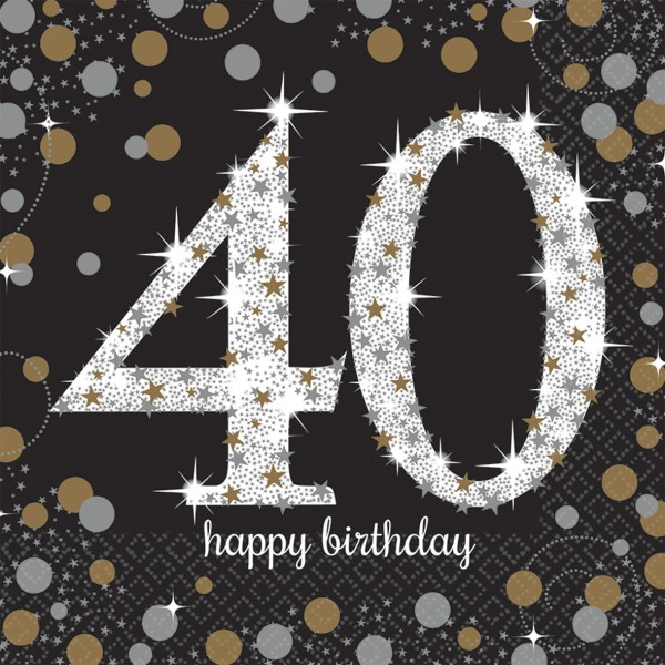 16 golden 40th birthday napkins 33cm