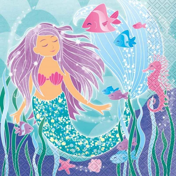 16 Zauberhafte Meerjungfrau Sirena Servietten 33cm 1
