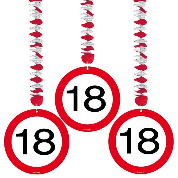 3 Hängedeko Verkehrsschild 18. Geburtstag 1