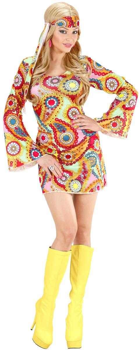 Jahre Muster Hippie 70er Damen 60er Mit Pinktürkis Kleid Retro Kostüm E2WHD9I