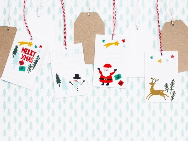 6 petites étiquettes cadeaux de Noël