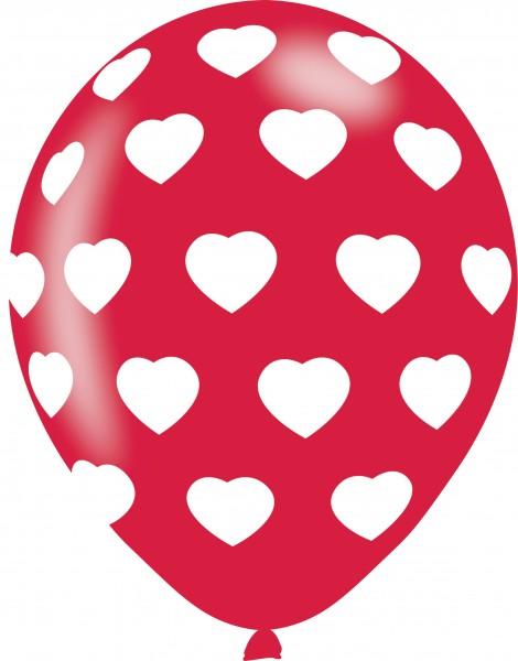 6 romantycznych balonów z serduszkami 27,5cm