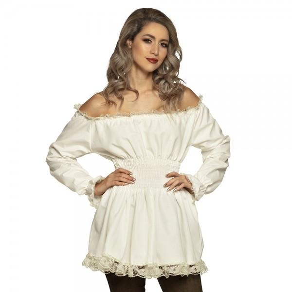 Bluzka w stylu barokowym dla kobiet w kolorze kremowym
