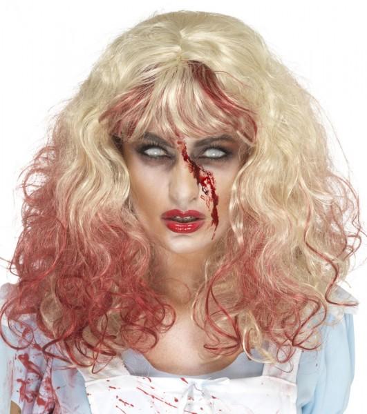 Blutverschmierte Blondhaar Perücke
