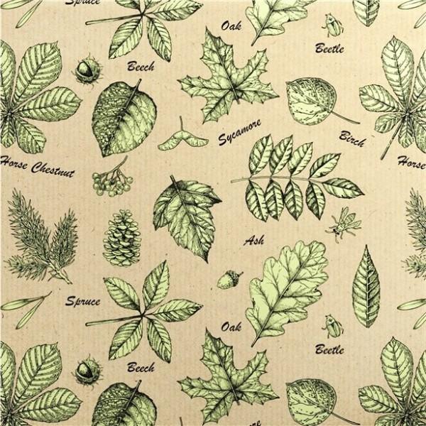 Papel de regalo ecológico con hojas